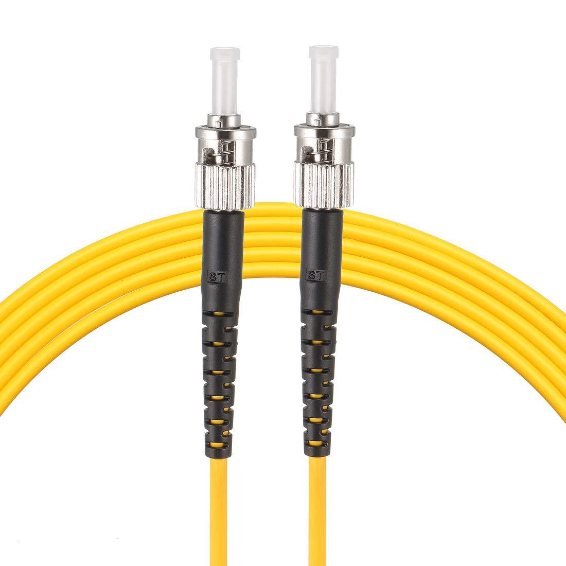 uxcell 5M 16.5Ft ST to ST Duplex Fiber Optic Cable Jumper Optical Patch Cord ST-ST 2pcs