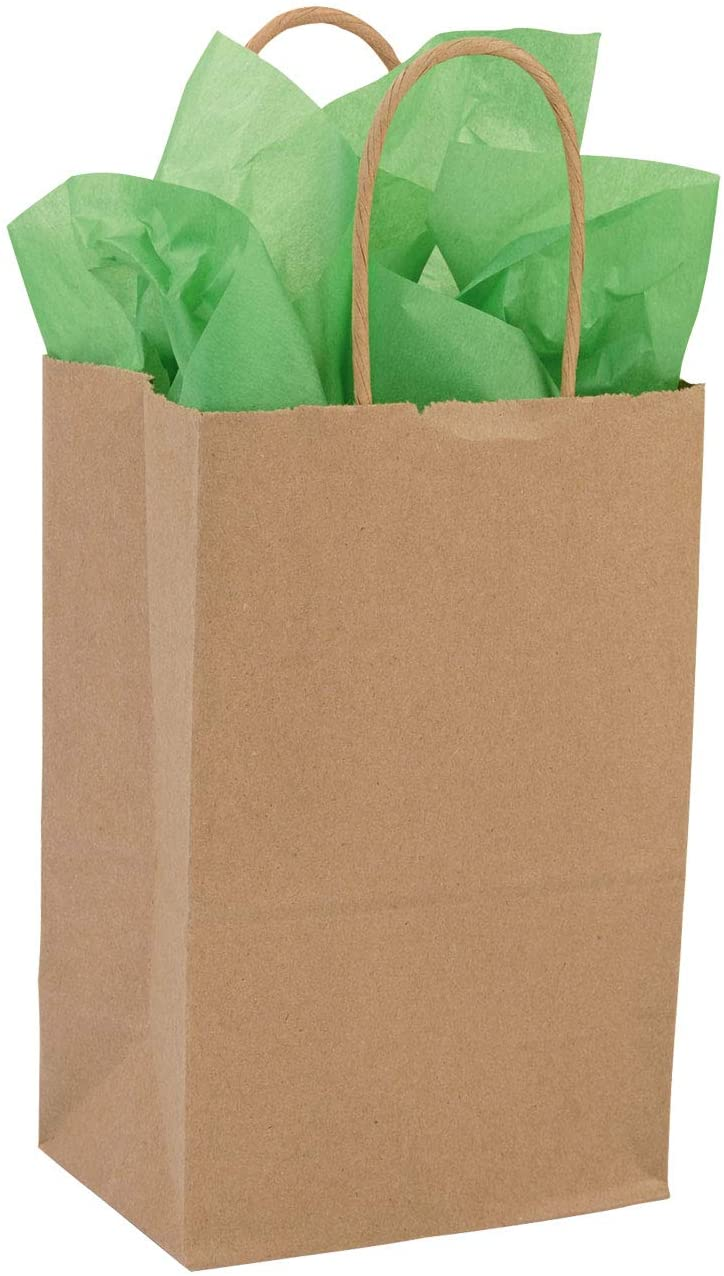 """Small Recycled Natural Kraft Paper Shopping Bags - 5 ¼""""L x 3 ½""""D x 8 ½""""H - Case of 250"""