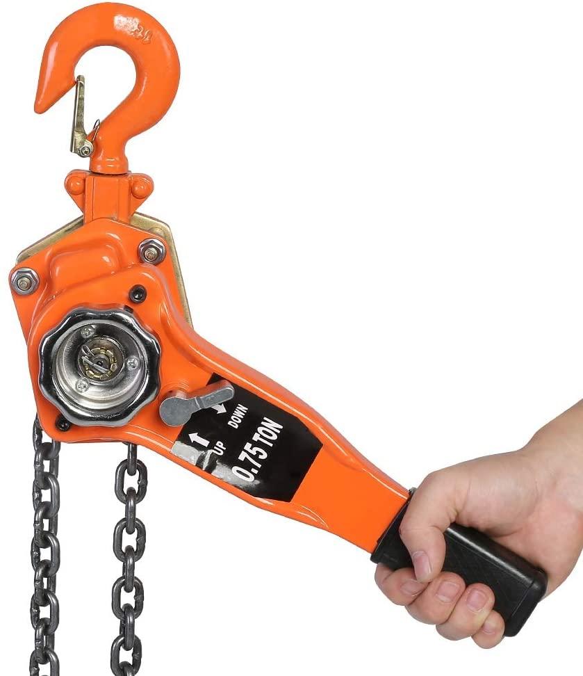 Lever Hoist-0.75t/1.5t/3t Chain Block Hoist Ratchet Hoist Ratchet Lever Pulley Lifting 3meters Orange Color (750)