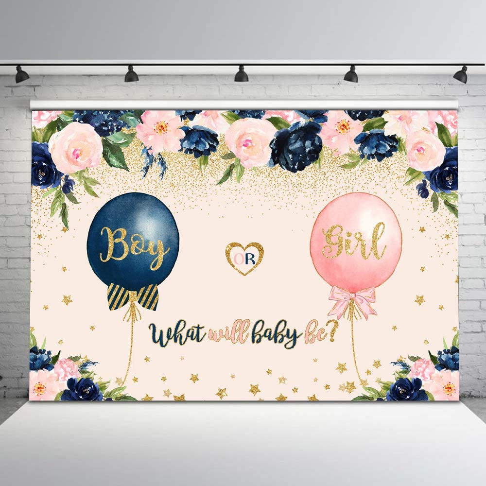 Avezano Navy Blush Gender Reveal Backdrop Boy or Girl What Will Baby Be Twinkle Twinkle Little Star Background 7x5ft Gold Stars Floral Balloons Gender Reveal Party Decorations Backdrops