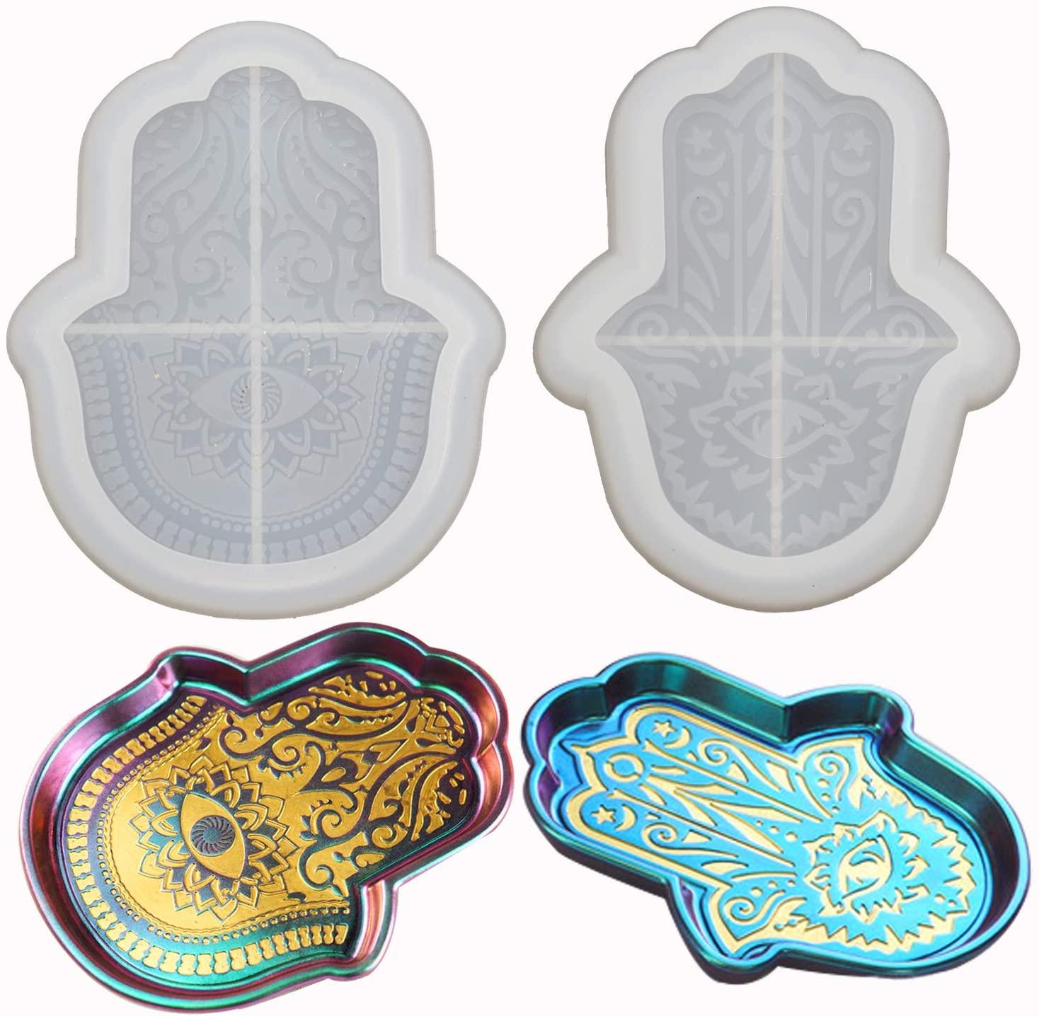 2PCS Hamsa Dish Resin Molds, Epoxy Plate Casting Mold for Soap Tray, Jewelry Tray, Home Decoration