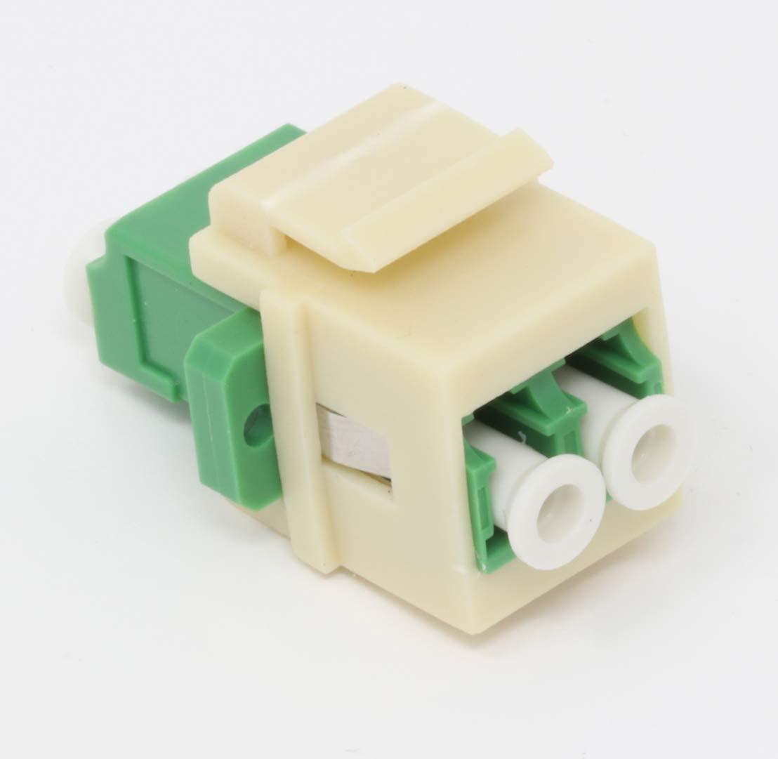Fiber Optic Keystone Coupler Jack LC Duplex Singlemode APC - Ivory