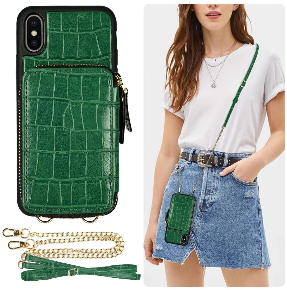 iPhone Xs Max Wallet Case, ZVE iPhone Xs Max Case with Credit Card Holder Crossbody Chain Handbag Purse Shockproof Zipper Crocodile Grain Leather Case Cover for Apple iPhone Xs Max, 6.5 inch - Green