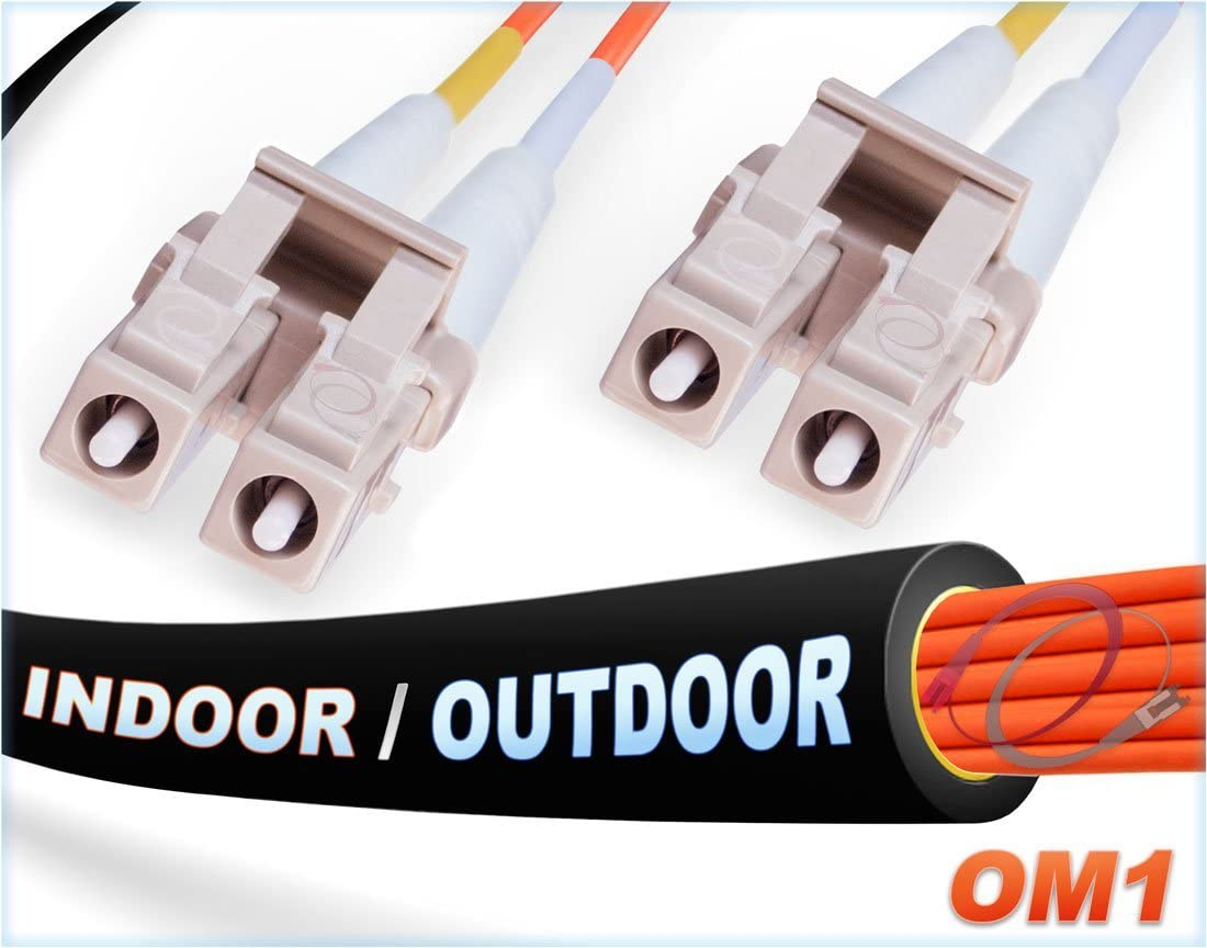 FiberCablesDirect -9M OM1 LC LC Fiber Patch Cable | Indoor/Outdoor 1Gb Duplex 62.5/125 LC to LC Multimode Jumper 9 Meter (29.52ft) | Length Options: 0.5M-300M | 1/10g sfp 1gbase mm lc-lc ofnr Black
