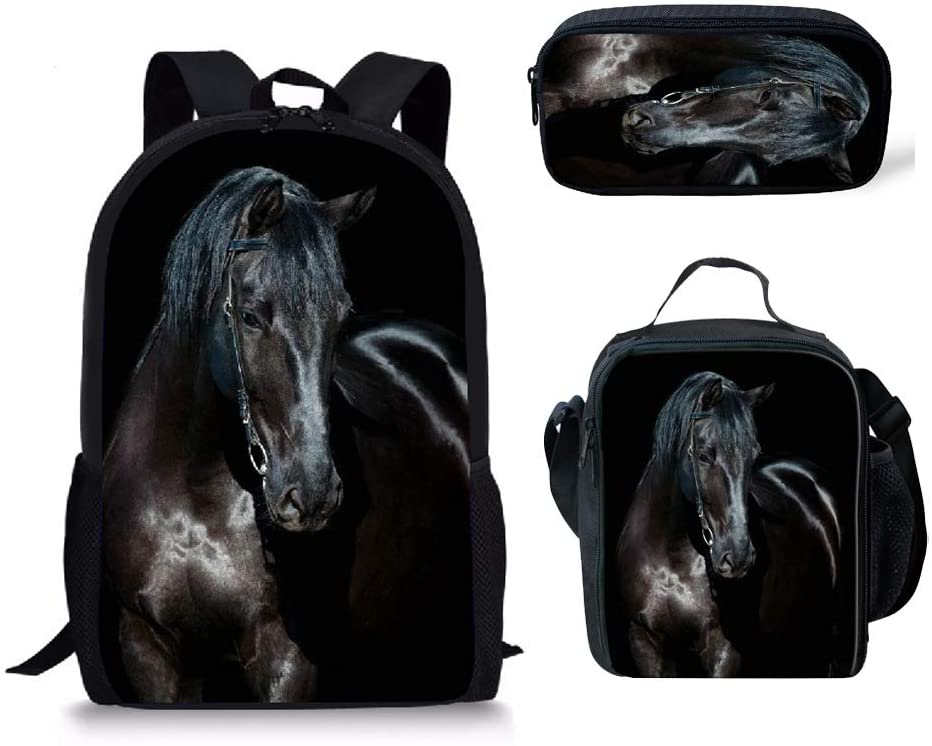 Black Horse Backpack Set 3 Piece, High School Backpack for Teen Boys