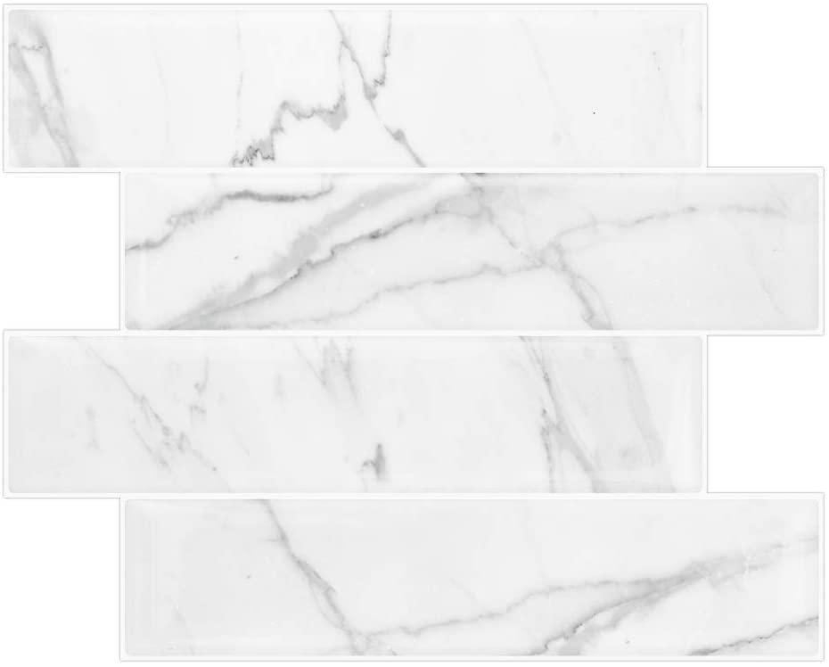 Vamos Tile 10-Sheet Peel and Stick Backsplash Tile for Kitchen, Self Adhesive 3D Wall Sticker Subway White Marble Look Bathroom Matt