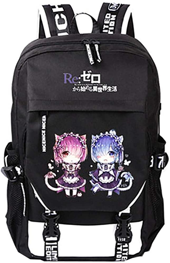 Yijuhua Anime Backpack for Girls, Bookbag with USB Charging Port for Men Black