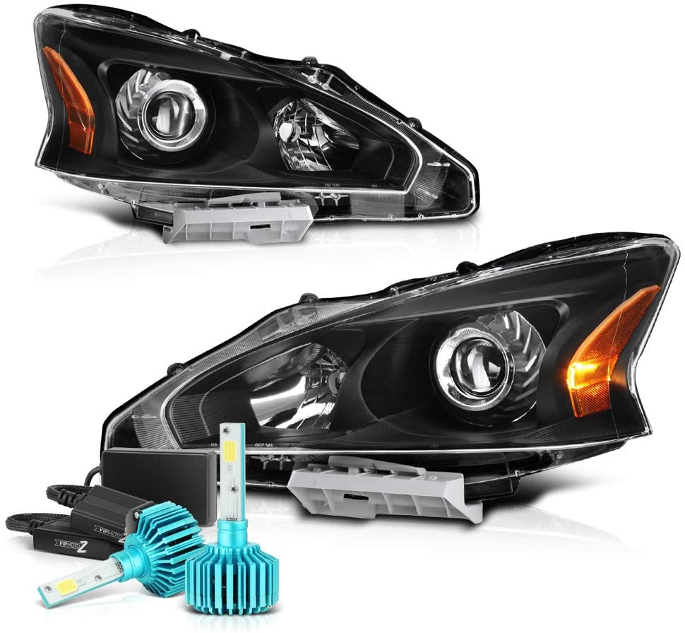 VIPMOTOZ Black Housing OE-Style Projector Headlight Headlamp Assembly For 2013-2015 Nissan Altima Sedan Halogen Model - Built-In Rainbow RGB LED Low Beam, Driver & Passenger Side