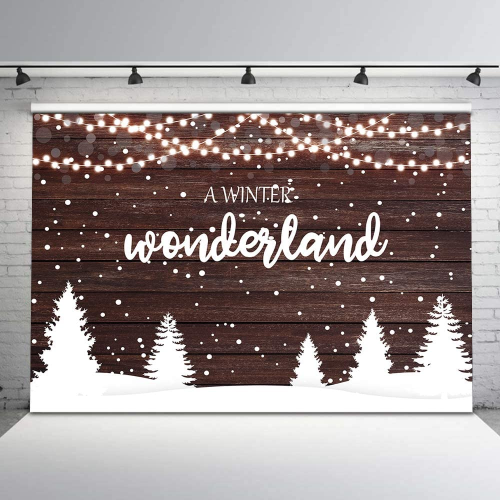 Mehofoto Winter Wonderland Backdrop Christms Party Photography Background 7x5ft Rustic Snowing Christmas Tree Lights Backdrops