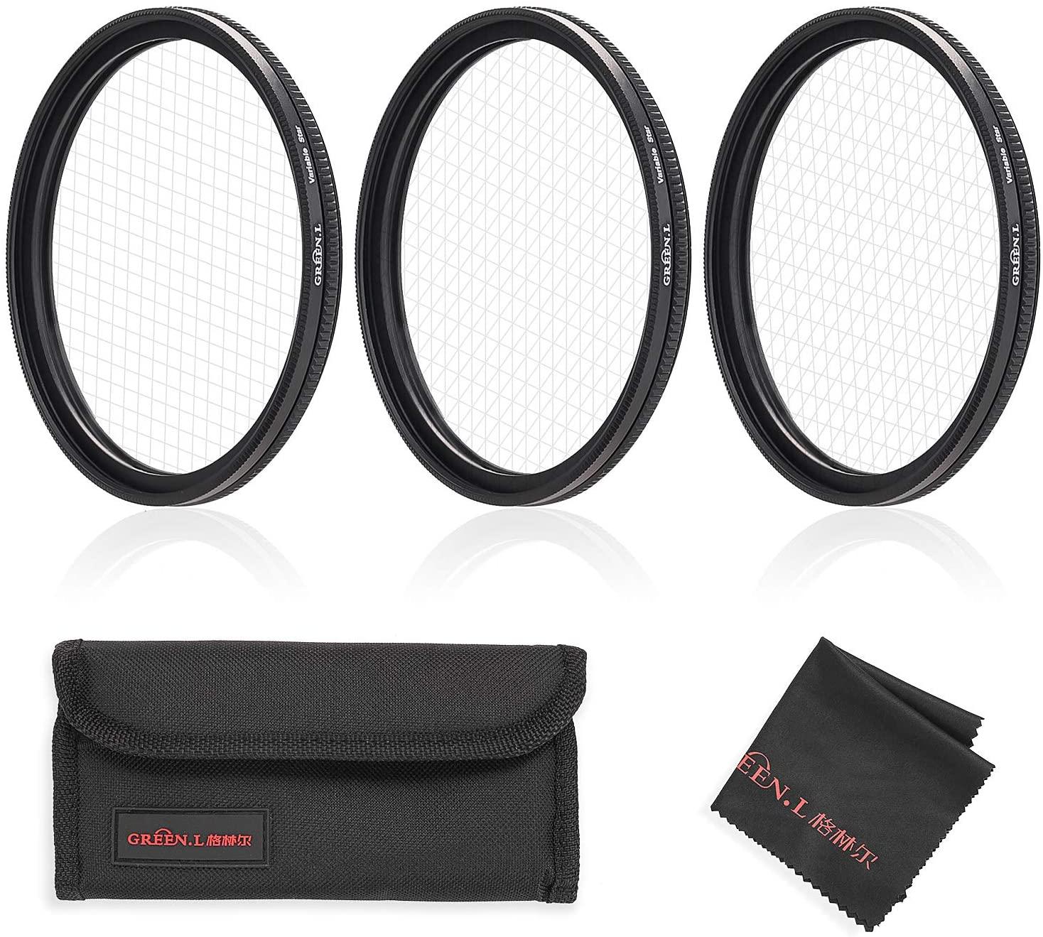 GREEN.L Star Filter Set 67mm Adjustable 4 Points 6 Points 8 Points Slim Star Filter with Filter Pouch Cleaning Coth