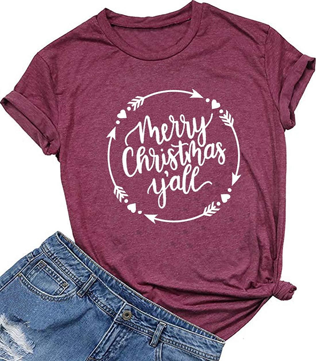 Merry Christmas Y'all Letter Print T-Shirt Women Christmas Cute Graphic Short Sleeve Tee Shirt Top