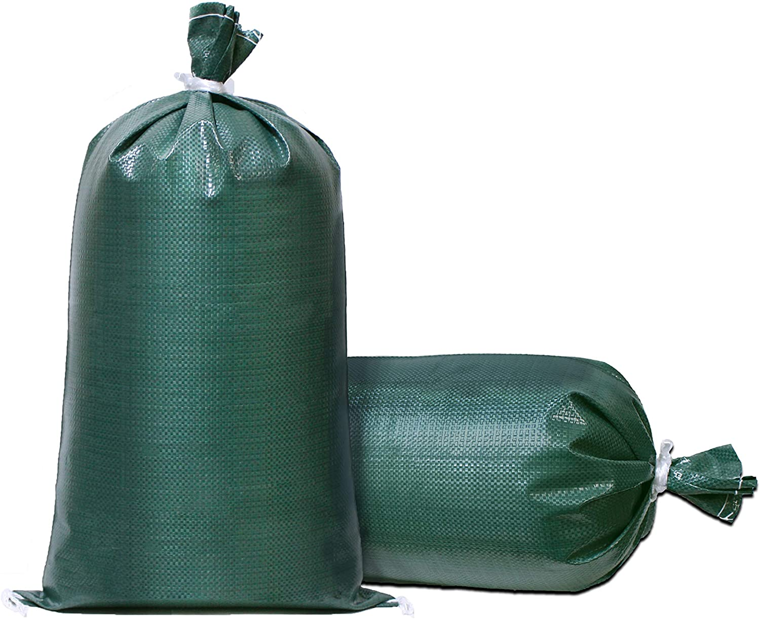 TerraRight Sandbags - Extra Durable Empty Green Woven Polypropylene Sand Bags w/Ties, Max. UV Protection, 14