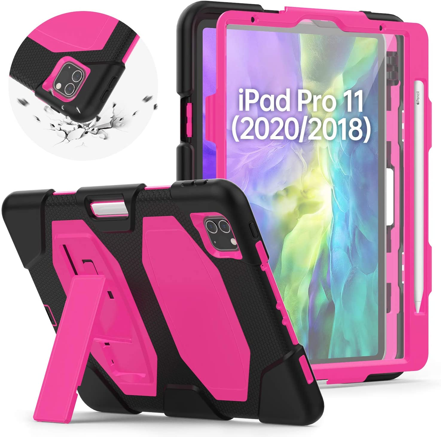 New iPad Pro 11 Case 2nd Generation 2020&2018 Released with Screen Protector, HXCASEAC Full Body Protective Rugged Shockproof Skid Proof + Robust Stand + Support 2nd Gen iPad Pencil Charging,Pink