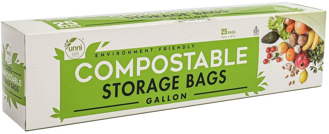 UNNI 100% Compostable Storage Bags, Gallon, Resealable Compostable Food Storage Bags,25 Count,10.5 x 10.7 inches,Earth Friendly Highest ASTM D6400,US BPI and Europe OK Compost Certified,San Francisco