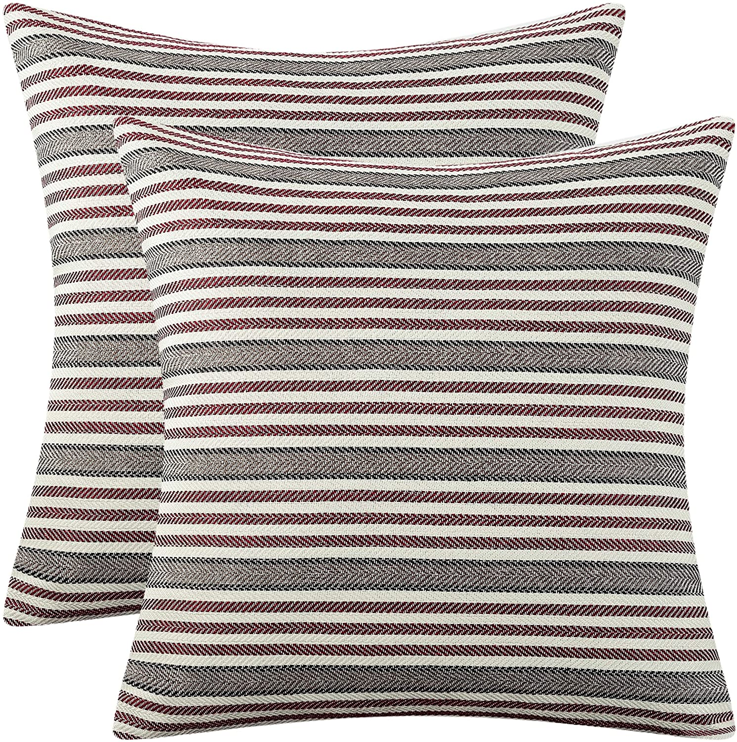 AmHoo Pack of 2 Striped Throw Pillow Cover Soft Comfortable Pillow Case Cushion Cover with Hidden Zipper for Couch Living Room Sofa Bedroom Car 18 x 18 Inch Red
