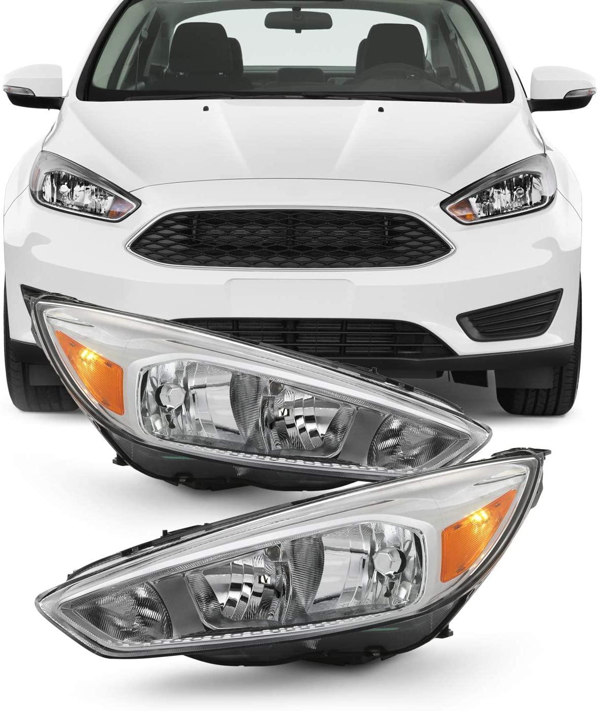 Fits 2015-2018 Ford Focus S   SE   ST Chrome Bezel [Halogen Type] Headlight [w/o DRL LED Function] Pair Left + Right