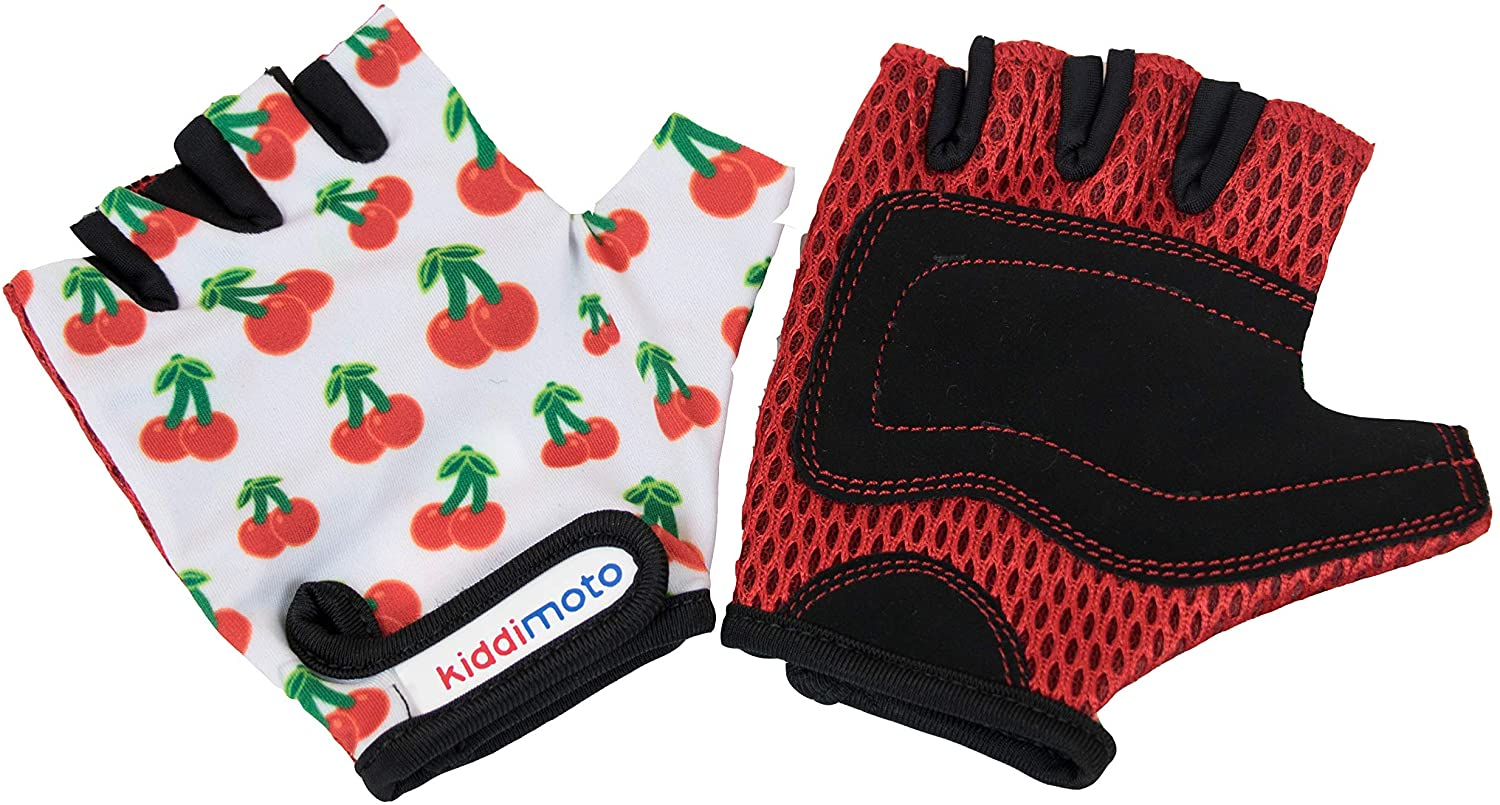 Kiddimoto Kids Toddler Fingerless Gloves for Balance/Pedal Bikes and Scooters (Cherry)