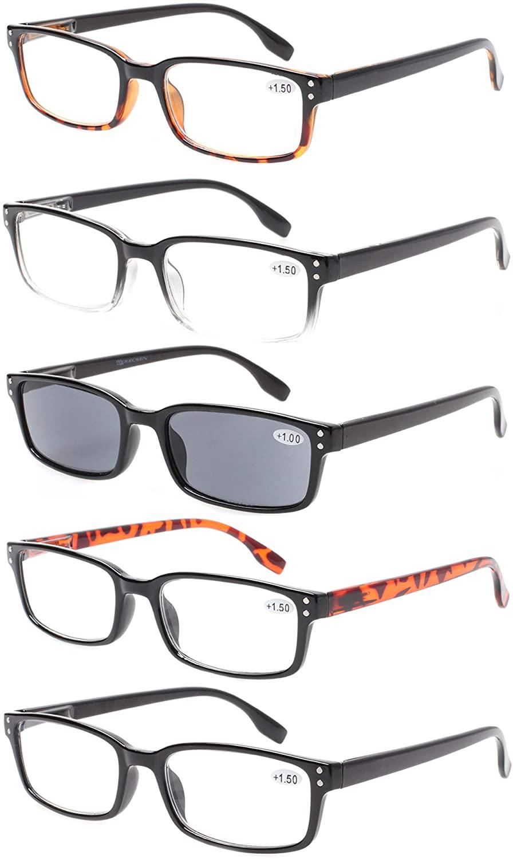Reading Glasses 5 Pack Spring Hinge Rectangular Men and Women Readers Inclue Sun Readers (0.50, 5 Pack Mix Color)