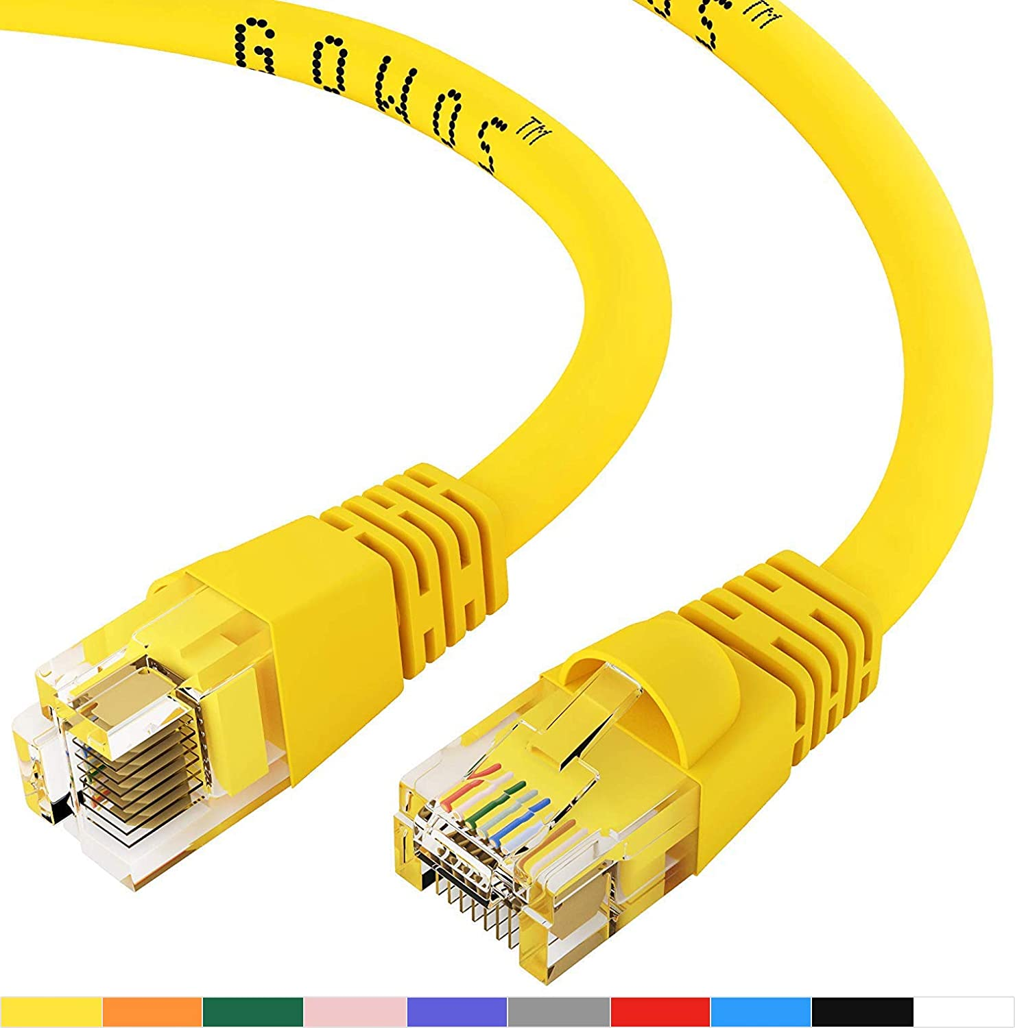 GOWOS Cat6 Ethernet Cable (75 Feet - Yellow) UTP - Computer Network Cable with Snagless Connector - RJ45 10Gbps High Speed LAN Internet Patch Cord - Available in 28 Lengths and 10 Colors