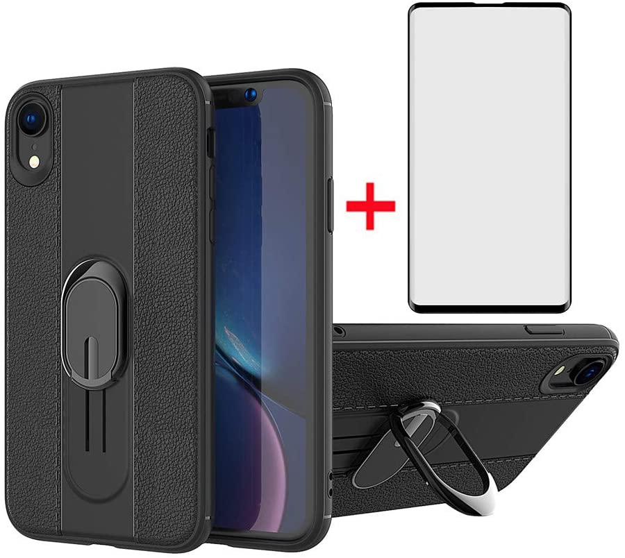 Phone Case for Samsung Galaxy S10 Plus with Tempered Glass Screen Protector Cover and Ring Holder Stand Kickstand Cell Accessories Bumper Glaxay S10+ Galaxies S10plus 10S Edge S 10 10plus Cases Black