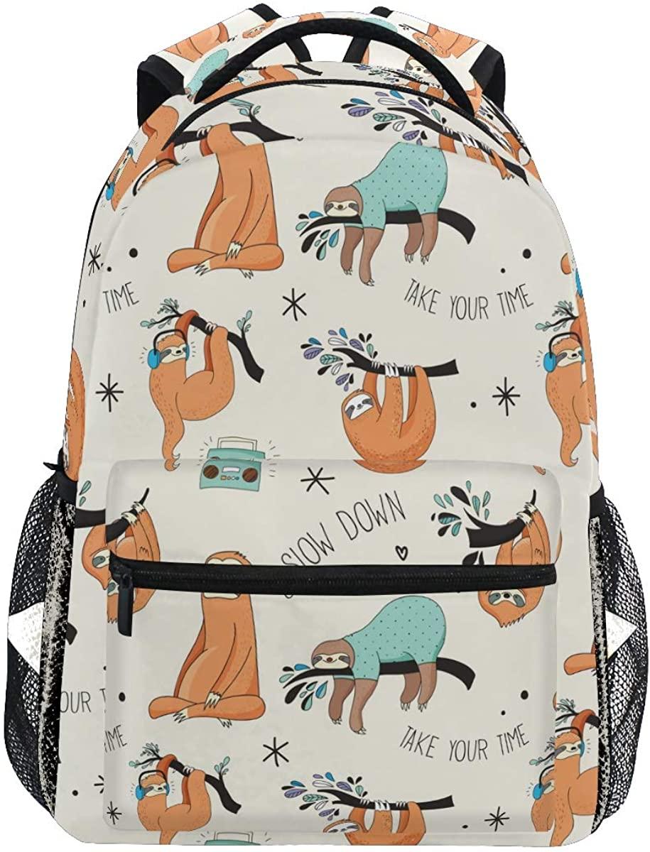 Music Radio Tree Sloth Backpack School Bookbag Rucksack Shoulder Book Bag for Boys Girls Women Travel Daypacks