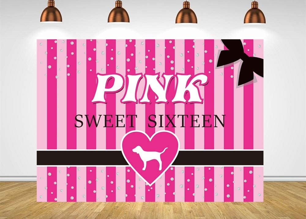 Fotupuul Silver Diamond Pink Striped Sweet Sixteen Photography Backdrops Sweet 16 Party Decoration Banner Background (7x5FT)