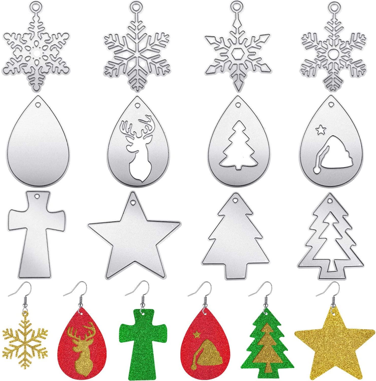 12 Pieces Christmas Earring Cutting Dies Teardrop Earring Die Cut Christmas Tree Snowflake Cross Shape Metal Earrings Cut Dies for Christmas DIY Faux Leather Earring Making Jewelry Decor