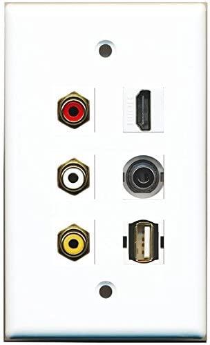 RiteAV HDMI Composite Video 3.5mm USB A-A Wall Plate 1 Gang White