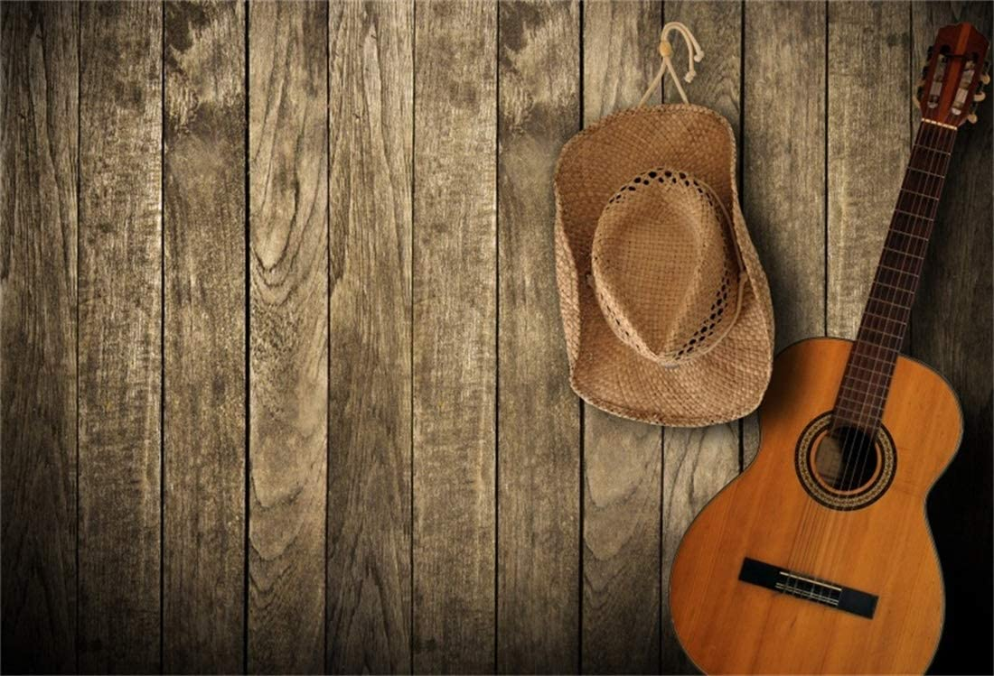 OFILA Western Country Concert Backdrop 10x8ft Cowboy Photos Background Rustic Wood Photos Cowboy Hat Guitar Country Music Band Background Adult Birthday Party Decoration Cowgirl Portraits Props