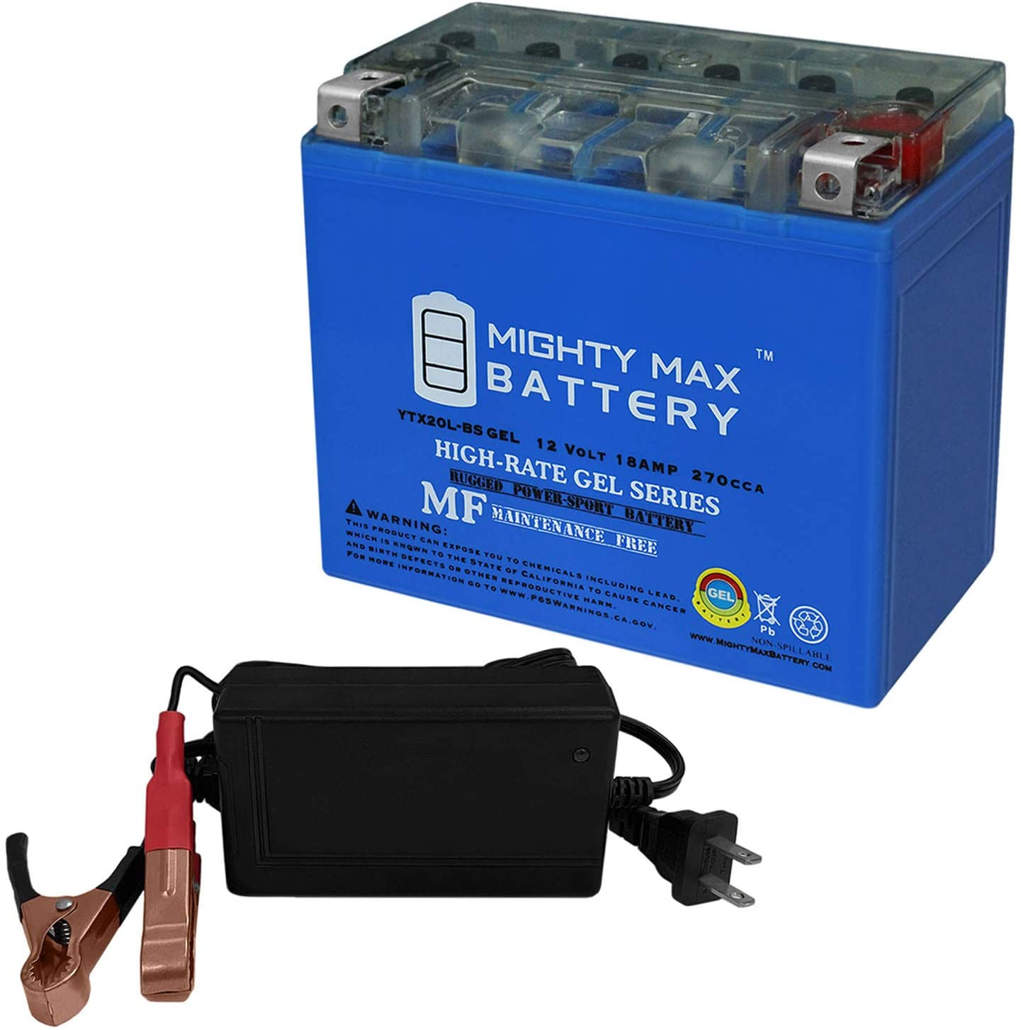 Mighty Max Battery YTX20L-BS Gel Replaces American Ironhorse Legend + 12V 4Amp Charger Brand Product