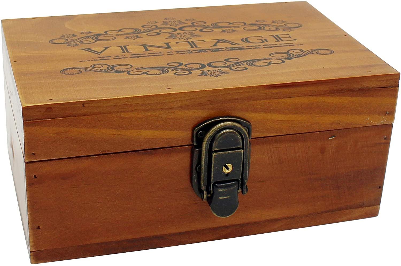 VKSG Vintage Wooden Storage Box with Hinged Lid Decorative Wood Jewelry Makeup Tea Stash Boxes Organizer