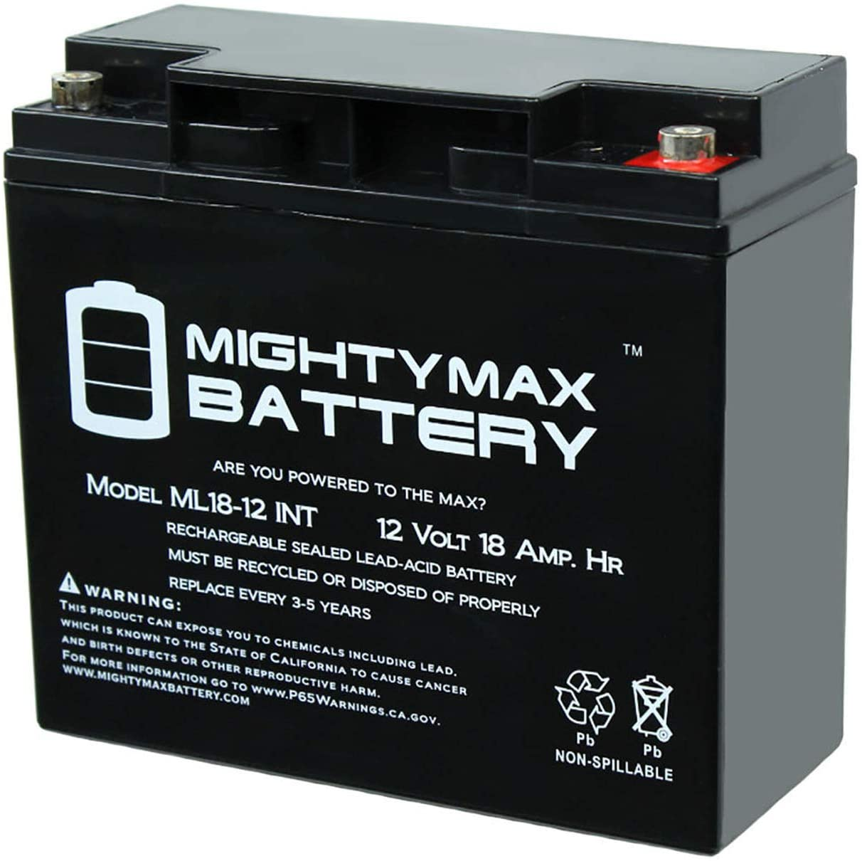 Mighty Max Battery 12V 18AH SLA Internal Thread Replacement for Sealake FM12170E Brand Product