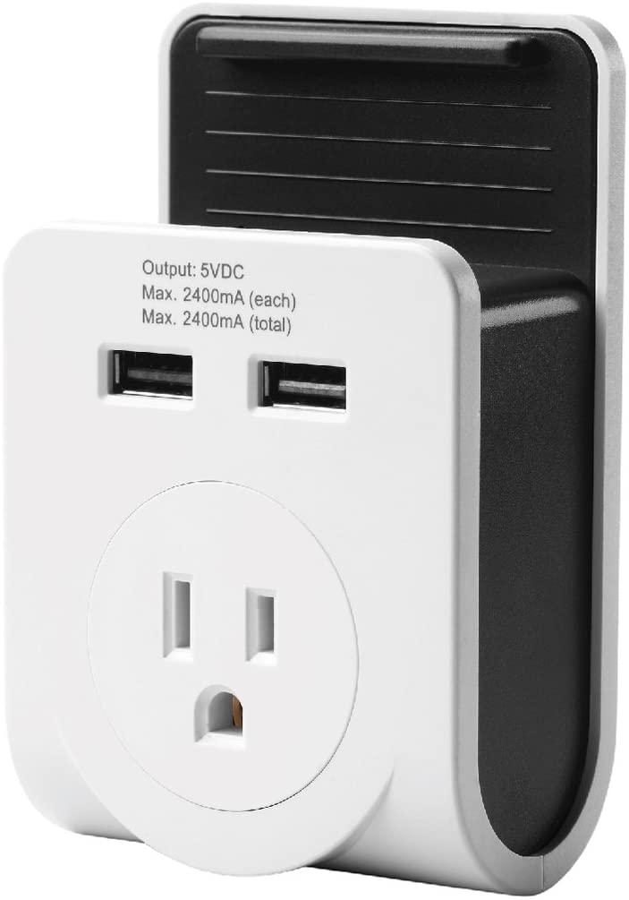 Link2Home EM-1601 Dual USB Port Power Adaptor with Smartphone Cradle, White