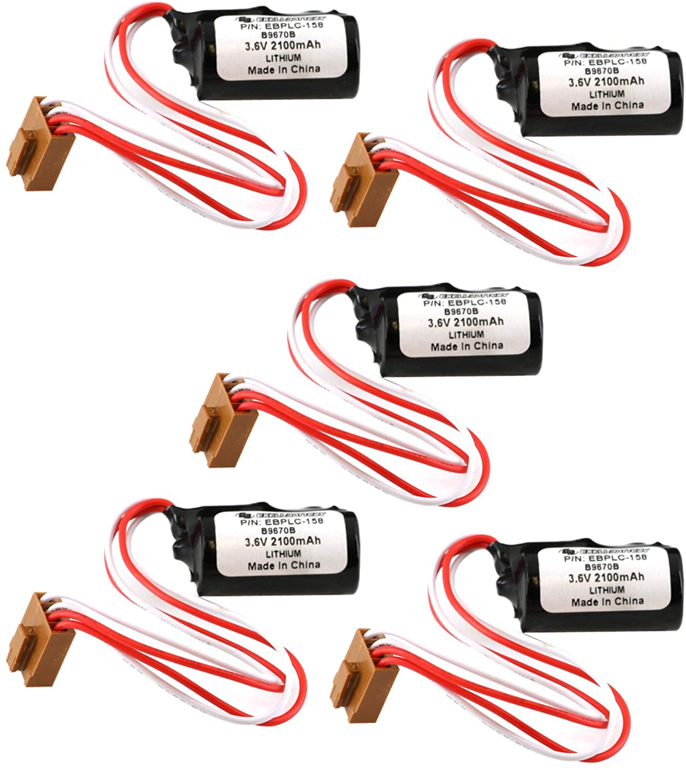 (5-Pack) 3.6V Lithium PLC Computer Battery Replaces Newark 09H1517, Omron: 3G2A9-BAT08, C1000H, C1000HF, C1000HF Series Controls, GT600 Series PLCS and Industrial Computers