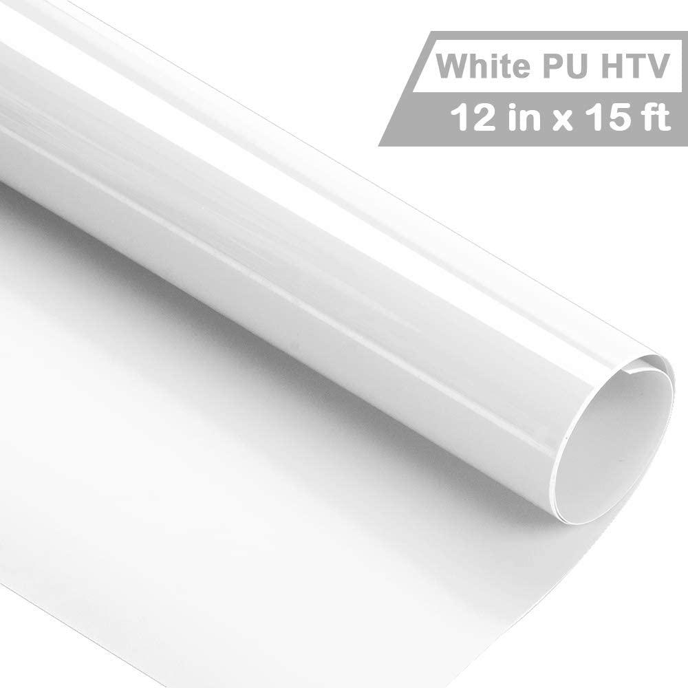 Trans-mate Iron on Heat Transfer Vinyl Roll HTV (12''x15', White)