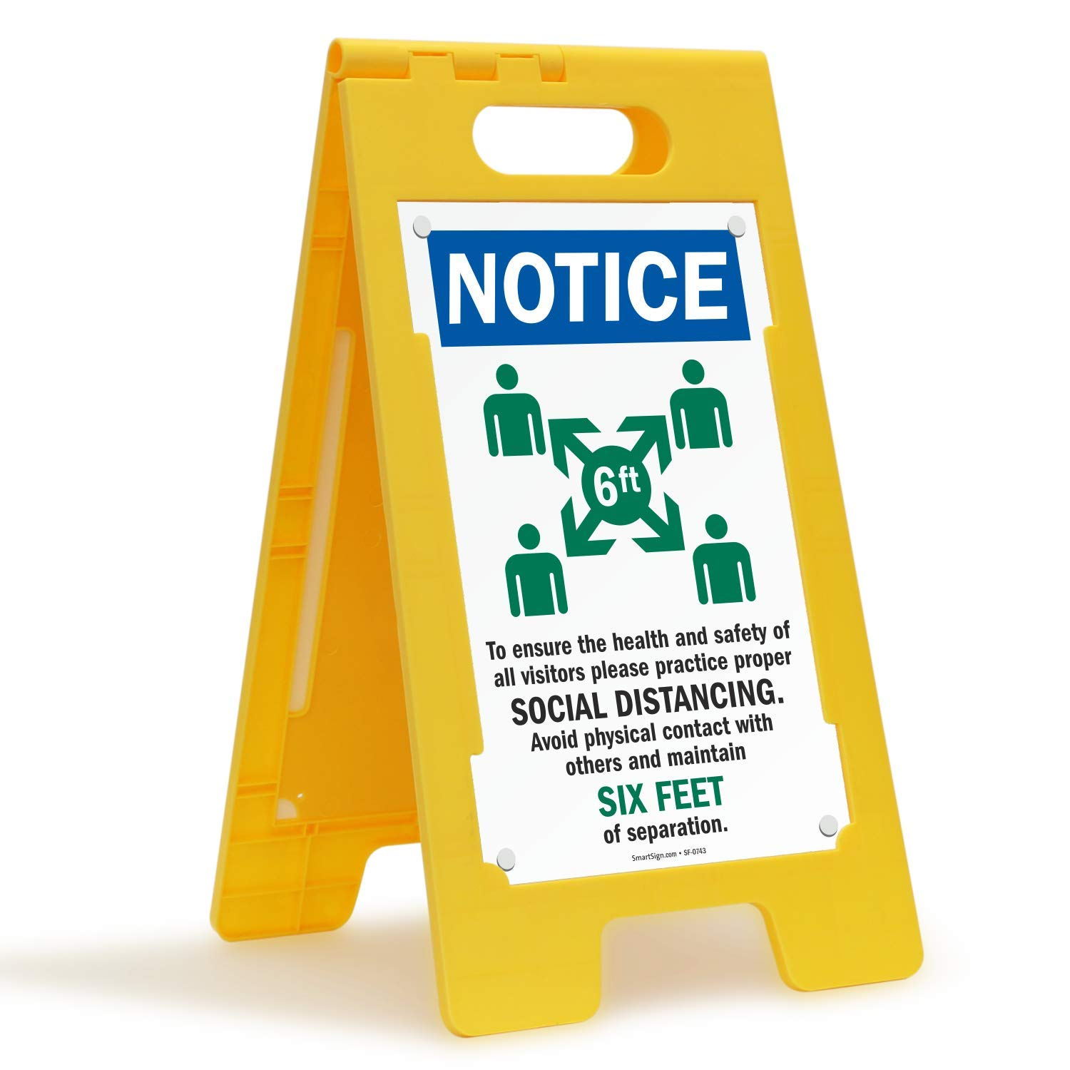 """SmartSign """"Notice - Ensure The Health and Safety of Others, Practice Social Distancing"""" Folding Floor Sign 