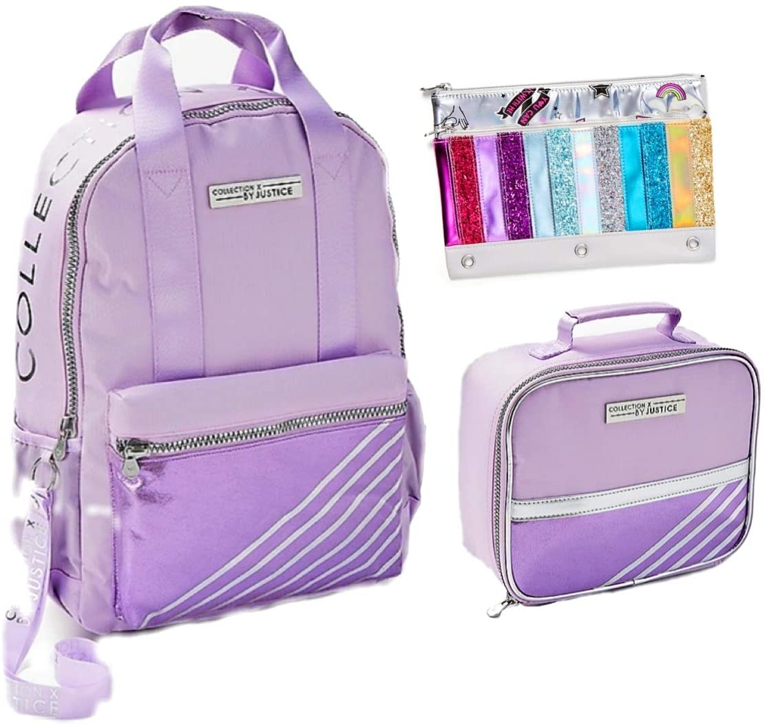 Justice Backpack, Lunch Box and Pencil Case Set Lilac Purple Stripe with Bonus Lanyard New for 2020 Back to School Bundle