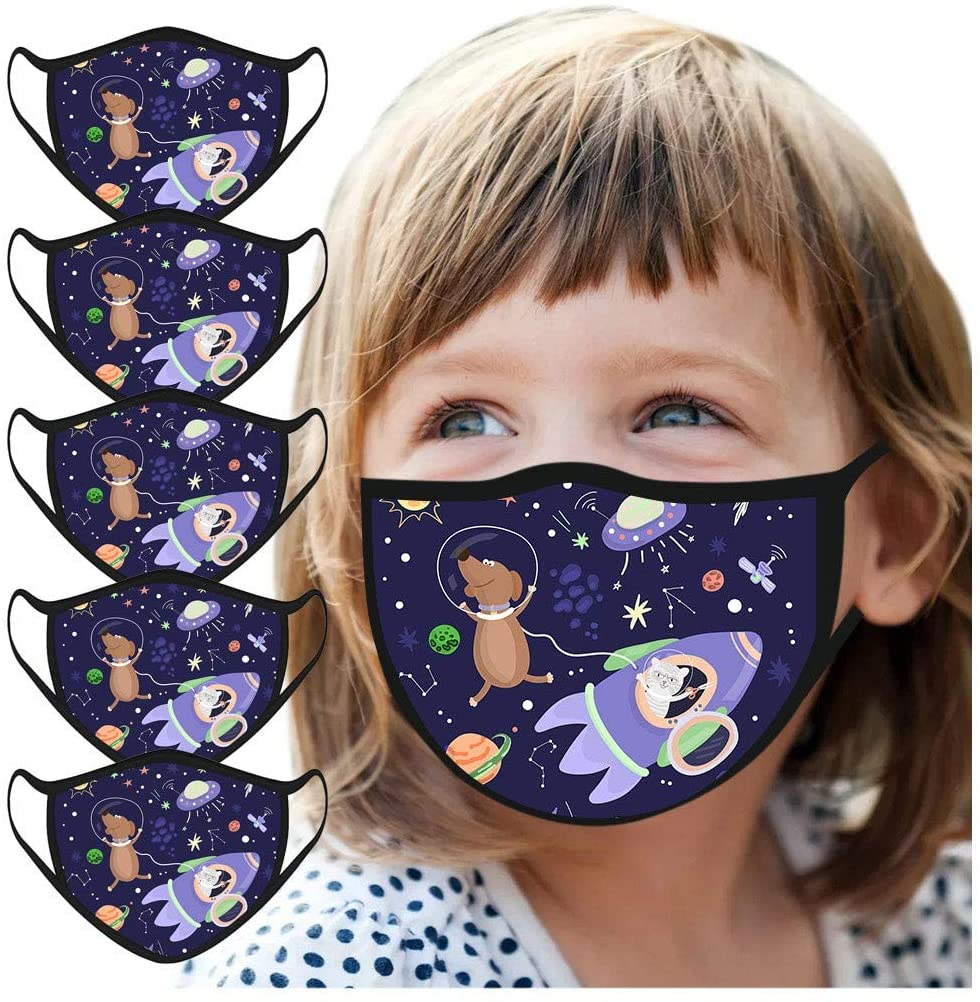 Pacoco 5PCS Children Cartoon Cover, Kid Dinosaur Animal Prints,Washable Adjustable and Reusable,Anti-dust and Proof for Kids School Outdoor Cycling