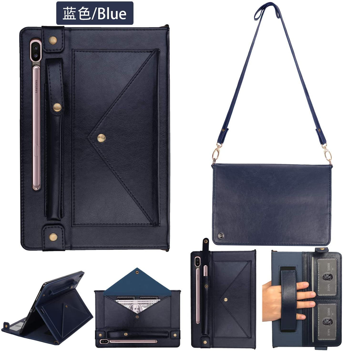 Samsung TAB S7Plus Case,Tablet Case for Galaxy SM-T795,Galaxy SM-T970Case with Pencil Holder TAB S7Plus 12.4Inch Handbag Case with Shoulder Strap 4 Card Holder Slot Adjustable Strap Kickstand