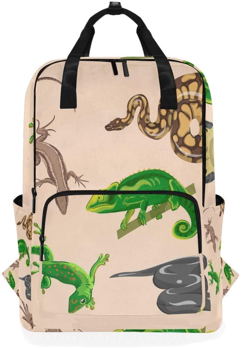 Angry Snake Lizard Backpack Bookbag for School Boys Girls Laptop Bag Travel Shoulder Bags Women Men
