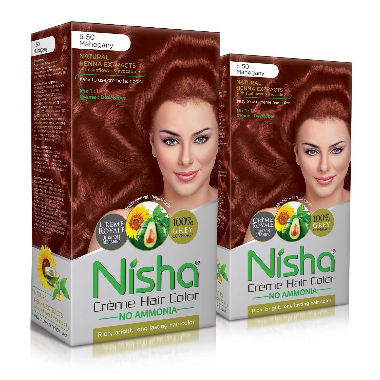 Nisha Cream Hair Color No Ammonia Cream Formula Fashion Highlights And Rich Bright Long-Lasting Colour Mahogany (pack of 2)