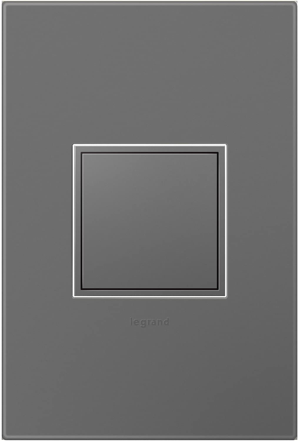 Legrand adorne 15Amp 1-Gang Pop-Out Outlet in Magnesium With Matching Wall Plate, ARPTR151GM2WP