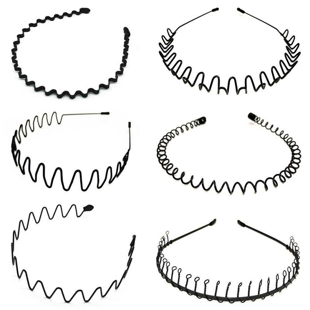 6 PCS Spring Wave Hairband Metal Hair Hoop for Men Women Simple Headband Accessories