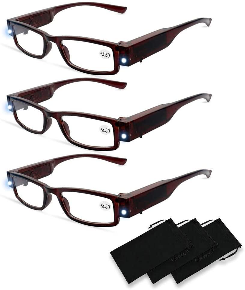 Magnifying Glasses with Light Reading Glasses With Light Led Readers for Men Women Led Magnifier Eyeglasses Nighttime Reader Compact Full Frame Eyewear Unisex Clear Vision Lighted Eye Glasses,+3.5