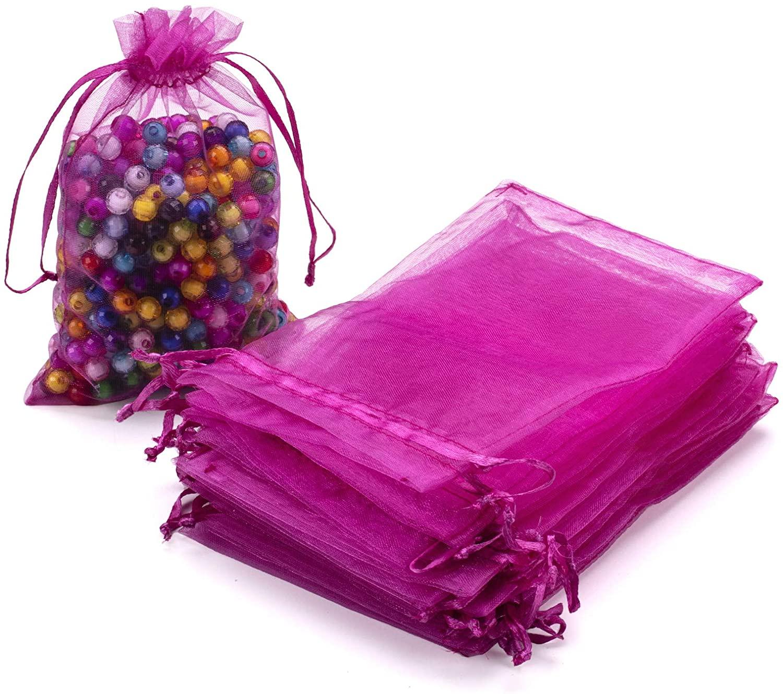 100 Pcs Sheer Organza Bags with Drawstring, 4