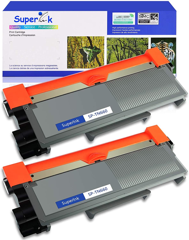 SuperInk Toner Cartridge Replacement Compatible for Brother TN630 TN660 TN-660 Use with HL-L2300D DCP-L2520DW DCP-L2540DW HL-L2360DW HL-L2320D HL-L2380DW MFC-L2707DW MFC-L2720DW Printer (Black 2 Pack)