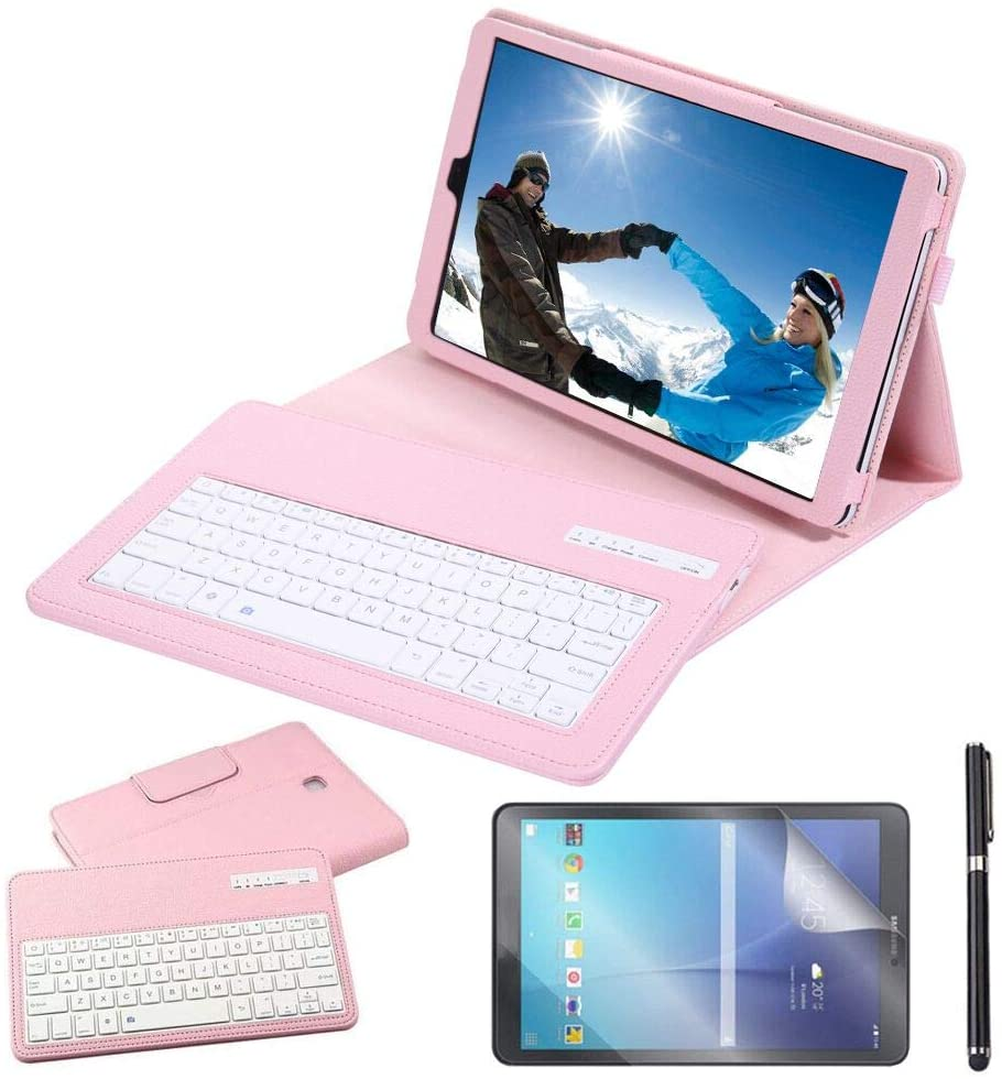 Galaxy Tab A 10.5 2018 Keyboard Case with Screen Protector & Stylus, REAL-EAGLE Slim Separable Fit PU Leather Case Cover Wireless Keyboard for Samsung Galaxy Tab A 10.5 Inch 2018 SM-T590/T595, Pink