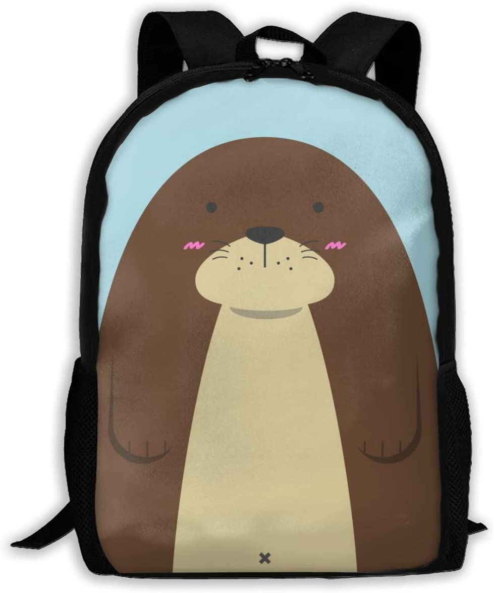Cute Animals Otter Unique Outdoor Shoulders Bag Fabric Backpack Multipurpose Daypacks for Adult