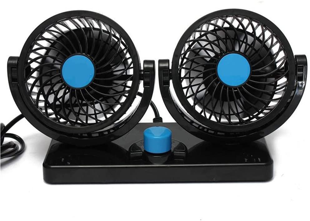 Jhua 360 Rotating Free Adjustment Dual Head Car Auto Blow Air Fan Powerful Quiet 2 Speed Rotatable 12V Ventilation Dashboard Electric Car Fans Summer Clean Air Circulator