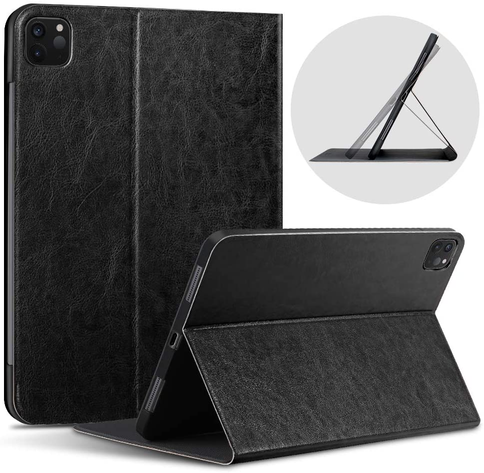 X-level iPad pro 11 Case 2020 & 2018 Slim Fit Hard Premium Leather Protective Folding Stand Lightweight Smart Cover with Auto Wake/Sleep [Support iPad Pencil Charging] Cover for iPad pro 11